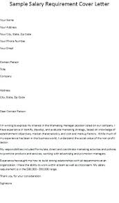 Cover Letter Including Salary Cover Letter With Salary Requirements