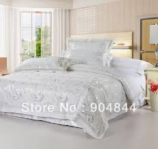 white satin comforter set and silver bedding sets luxurious jacquard 19