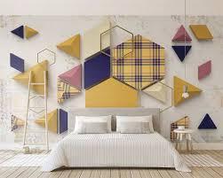Beibehang Custom Fashion Retro Geometric Triangle Plaid Stitching