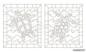 set of outline ilrations in the style of stained glass with sea turtles into the waves a dark outline on a white background