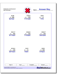 Grade 6 math worksheets on subtracting decimals of varying lengths. Multiplication With Decimals Worksheets Decimals Worksheets Multiplication Worksheets Multiplication