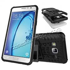 samsung on5. discount rugged dual layers shockproof hybrid stand armor case for samsung galaxy on5 - black