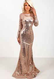 Russian Doll Rose Gold Long Sleeved Sequin Maxi Dress Pink Boutique