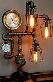 Love to have in a library Steampunk Lamp Industrial Art Machine Age Salvage  Steam Gauge Light Pressure