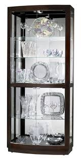 display cabinet 36 x82 x17 in black finish with four curved glass doors