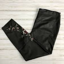 Details About Nwt Lysse Women S Embroidered Faux Leather Leggings Size 2x Black Stretchy