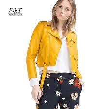 autumn 2017 yellow faux leather jackets women short design long sleeve biker jacket outwear leather jacket women