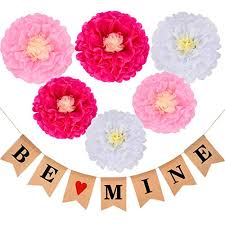 Paper Flower Backdrop Garland Boao Be Mine Burlap Banner Valentine Garland Banner With 6 Pieces