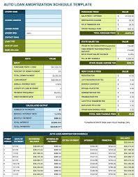 Amortization Schedule Excel Template Auto Loan Amortization Schedule