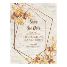 Rustic Thanksgiving Save The Date Acorns Squirrel Postcard