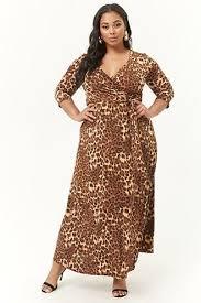 Plus Size Leopard Print Maxi Dress Plus Size Long Dresses