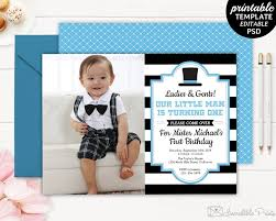 Boys Birthday Party Invitations Templates Gentleman Birthday Invitation Boy First Birthday Invite