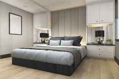 3d Rendering Modern Luxury Blue Bedroom With Marble Decor Royalty Free  Stock Image