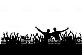 コンサートパーティー拍手群衆背景シルエット陽気な人々ベクトルを分離