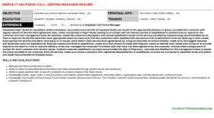 It Helpdesk Call Centre Manager Cv Cover Letter Resume