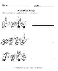 Kindergarten Worksheets: Worksheets - Sign Language