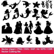 Small Picture The Little Mermaid Ariel Eric Flounder and Sebastian Silhouette