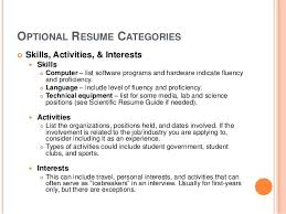 Personal Interests On Resumes Interests To List On A Resumes