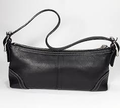 Coach Hampton Black Leather Demi Baguette Shoulder Bag Purse Style F08A64  Small