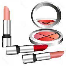 cosmetic clip art vector makeup clipart make up set with eyeshadow and lipstick stock vector
