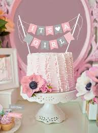 Mini Cake Bunting Baby Girl Party Printables Birdspartycom