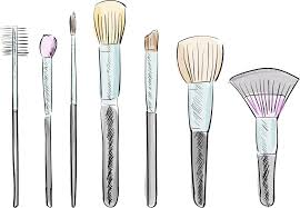 makeup brushes drawing