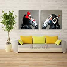 Oil Painting For Living Room Decorative Art Handmade Monkey Oil Painting On Canvas Living Room