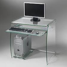 contemporary computer table glass pforyou clear pc01