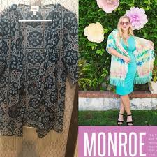 Lularoe Monroe Size Chart Lularoe Monroe Kimono Blue W Orange Cream Tassels