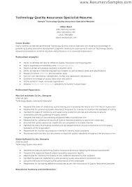 Quality Assurance Sample Resume Nfcnbarroom Com