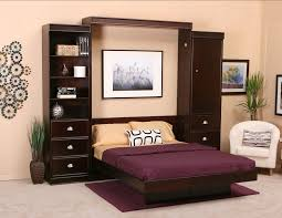 dark purple furniture. Furniture. Dark Brown Wooden Murphy Bed With Purple Cover And Furniture N