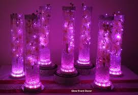 vase lighting. Pink LED Cylinder Vase With Orchids, Fairy Lights And Light Base Lighting