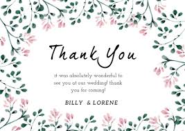 Floral Wedding Attendance Thank You Card Free Template Gift