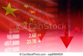 China Stock Market Shanghai Stock Exchange Analysis Indicator Trading Graph Chart Business Crisis Red Price Arrow Down Chart Fall