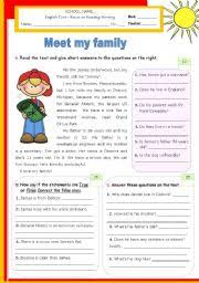 english teaching worksheets other writing worksheets  meet my family reading writing test level elementary age 9 11 s 1094