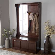 White Coat Rack With Storage Decorating Tremendeous Hall Tree Storage Bench With Vertical Mirror 85