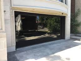 modern black glass garage door