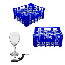 regent blue plastic crate with wine glasses 30 s 250ml waiter s friend