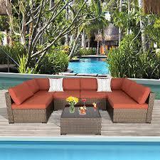 outdoor patio furniture wicker sofa set