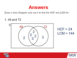Lcm Venn Diagram Venn Diagrams To Find The Hcf And Lcm Ppt Video Online