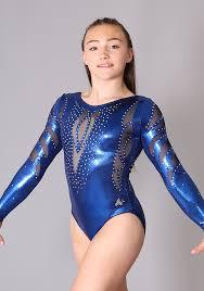 elise k230 long sleeved navy gymnastics leotard with net dels