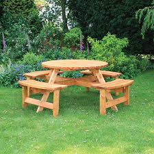 anchor fast somerset 8 seater round picnic bench simply wood