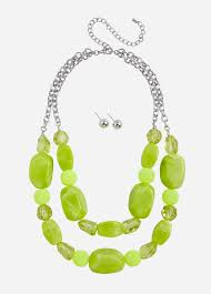 Neon Chunky Bead Necklace Set
