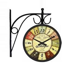 multicolor vintage station wall clock