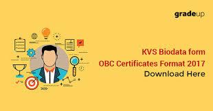 Kvs Biodata Form Obc Certificates Format 2017 Download Here