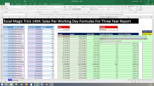 Sales Per Day Formula Excel Magic Trick 1404 Sales Per Working Day By Month Formulas For Three Year Dynamic Report
