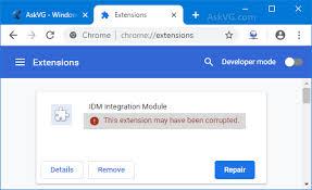 Que fait le module d'extension idm ? Repair Corrupted Idm Integration Module Extension In Google Chrome Askvg