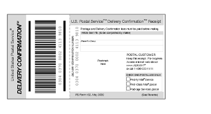 Confirm Of Receipt Shows Form 152 Delivery Confirmation Receipt