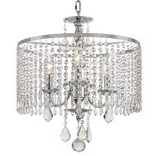 3 light polished chrome chandelier with k9 crystal dangles