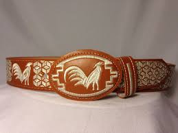 mens mexican embroidered western piteado rooster gallo grabado belt sizes 32 44